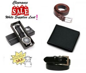 Combo Of Leather Wallet And 2 Leatherite Belts With Polo Watch