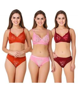 Set Of 3 Multicoloured Bra And Panty Combo (code - 3 Aashiqui Set)