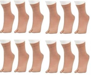 12 Pairs Ladies Beige Brown Colour Crew Length Socks For Women