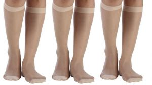 Wetex Premium Pack Of 3 Ultra Thin Knee High Stockings Free Size (product Code - Khs-s-po-3)