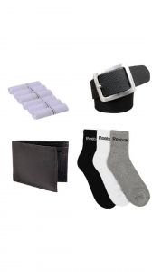 Combo Of 3 Pair Of Branded Socks,6 Cotton Hankerchief,1 Leather Belt And 1 Leather Wallet