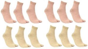 12 Pairs Ladies Beige Brown And Skin Colour Crew Length Socks For Women