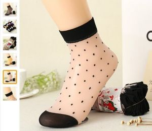 Set Of 5 Pairs Formal Dotted Ankle Stockings Socks For Ladies