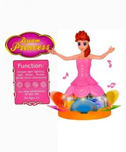 Musical Dancing Rotating Dream Princess Barbie Toys Girl With 3d Multicolor Lighting