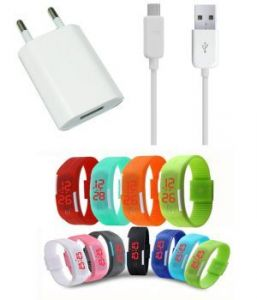 New USB Travel Charger And LED Waterproof Digital Jelly Watch Combo