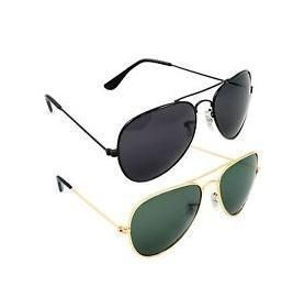 Nau Nidh Black & Green Sunglasses Combo Aviator For Men Women Eyewear