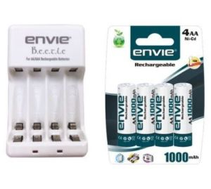 Details About Combo Envie Beetle Battery Charger With Envie 4xaa Ni-cd 1000 mAh Batteries