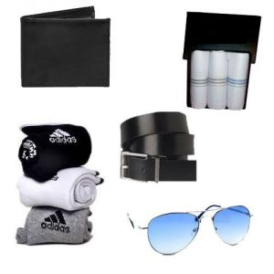Feshya Combo Of Sunglass ,wallet, Belt, 3 Handkerchief, 3 Adidas Socks