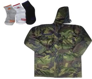 Camouflage Patterned Reversible Hooded Quilted Jacket, Adidas Socks Free