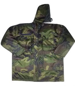 Camouflage Patterned Reversible Hooded Quilted Jacket