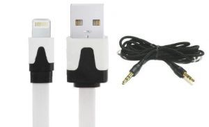 Combo Of iPhone 5 USB Flat Data Cable 1 PCs 3.5 MM Male To Male Aux Wire 1