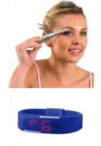 Eyebrow Trimmer And Shaper With LED Blue Digital Jelly Watch