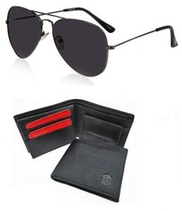 Combo Of Black Aviators And Classic Black Leather Wallet
