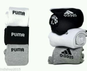 Set Of 6 Pairs - 3 Adidas 3 Puma Logo Sports Ankle Length Socks