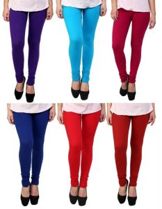Stylobby Set Of 6 Cotton Lycra Legging Sb.pl.bl.m.p.r. .6hema