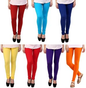 Stylobby Set Of 7 Multicolor Cotton Lycra Legging Sb.pl.bl.or.m.y.r.7hema