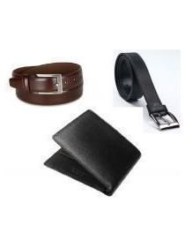 Nau Nidh Combo Leatherite Wallet And 2 Leatherite Black Brown Belts