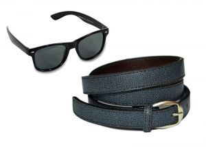 V.s Black Artificial Leather Belt With Unisex Black Wayfarer Sunglasses Vsi001015