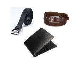 Mns Combo Of 2 Leatherite Mens Belts And Italian Leather Wallet