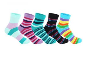 "Supersox Women""s Ankle Length Pack Of 5 Stripes Combed Cotton Socks_wccd0409"