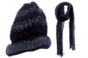 Mufflers, Caps - Ladies Winter Woolen Cap And Weave Muffler