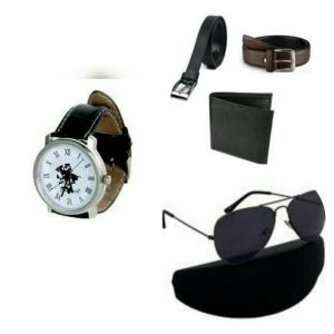 Pack Of Two Belt, Wallet, Watch And Sunglasses For Men