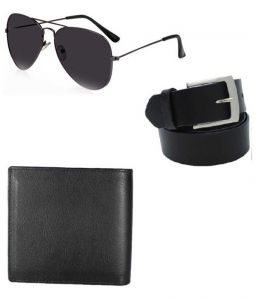 Lime Fashion Combo Of Belt, Wallet, Sunglasses For Men