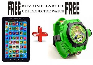 Toys, Games - Buy P1000 Educational Toy Tablet, Get Kid's Cartoon Projector Watch Free