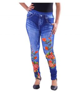 Jeggings - Denim Lycra Blue Pearl Designer Jegging - ( Code - pearljegging )