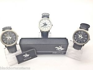 (set Of 2) Ustin Polo Club Leather Strap Watches, Stainless Steel Watch
