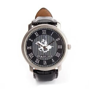 Ustin Polo Club Round Leather Strap Formal Watch Black Color
