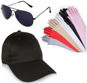 (combo Offer) Long Skin Protective Sleeve Gloves And Avaitor Sunglass With Cap For Sun Protection