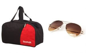 Reebok Duffle Bag And Reebok Aviator Sunglass Combo
