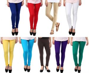 Stylobby Set Of 9 Cotton Lycra Legging Pl.bl.br.sb.r.w.y.g.be.9hema