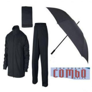 3 Fold Umbrella And Rain Breaker Nylon Black Raincoat Combo For Rainy Season With Carry Pouch