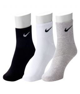 Nike Mens Cotton Multicolor Socks (3 Pair Socks- Black, White , Grey) (code - Nike-1)