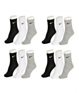 Nike Mens Cotton Multicolor Socks (9 Pair Socks- 3 Black,3 White ,3 Grey) (code - Nike-3)