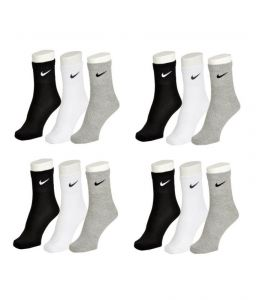 Nike Mens Cotton Multicolor Socks (15 Pair Socks- 5 Black, 5 White , 5 Grey) (code - Nike-5)