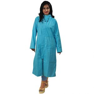 Multicoloured Women Long Rain Breaker Over Wear Raincoat With Carry Pouch