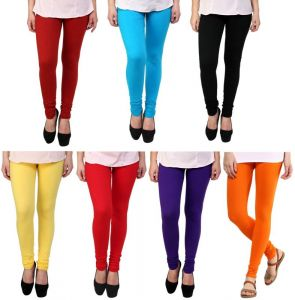 Stylobby Set Of 7 Multicolor Cotton Lycra Legging Pl.or.sb.m.r.y.b.7hema