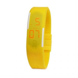 Jelly Slim Men Women Yellow LED Digital Casual Bracelet Band LED Watch