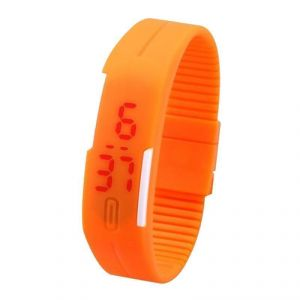 Jelly Slim Men Women Orange LED Digital Casual Bracelet Band LED Watch