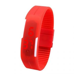 Jelly Slim Men Women Red LED Digital Casual Bracelet Band LED Watch