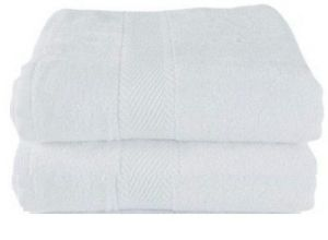 Set Of 02 Large White Cotton Towels