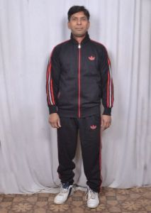 Branded Adidas Black Track Suit With Attractive Blue Stripes For Men