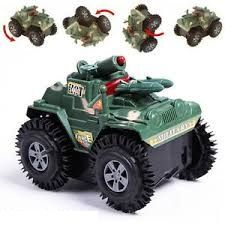Battery Operated Toys - Battery Stunt Jeep Flip Tumbling Tank Toy For Kids, Best Gift, Fun Light, Fast Play
