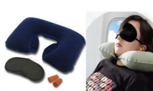 3 In 1 Air Travel Kit Combo - Pillow , Ear Buds & Eye Mask