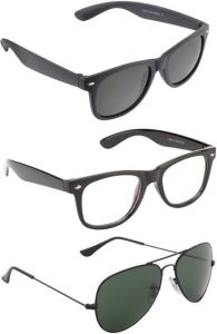 Combo Wayfarer, Aviator Sunglasses (black, Multicolor)