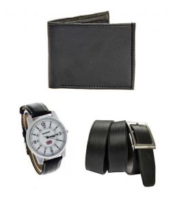 Men's Watches   Round Dial   Leather Belt   Analog - Pack Of 3 Belt, Wrist Watch & Wallet