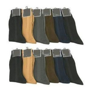 12 Pair Men Colors Ribbed Formal Wear Dress Socks